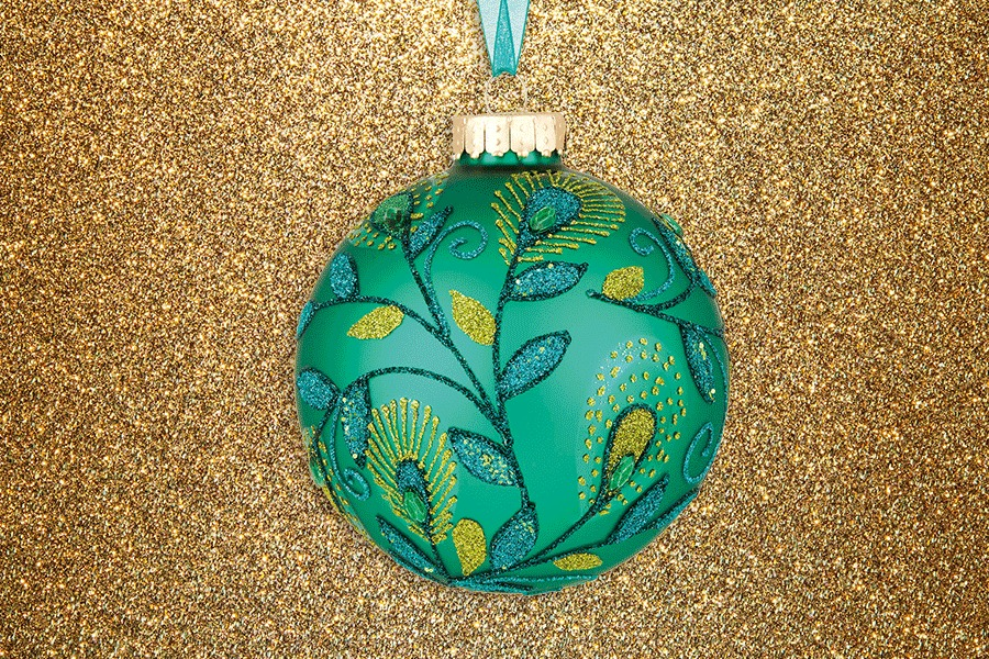Emerald Glitter Bauble John Lewis
