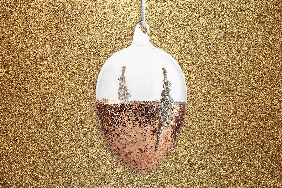 Copper glitter egg decoration heals