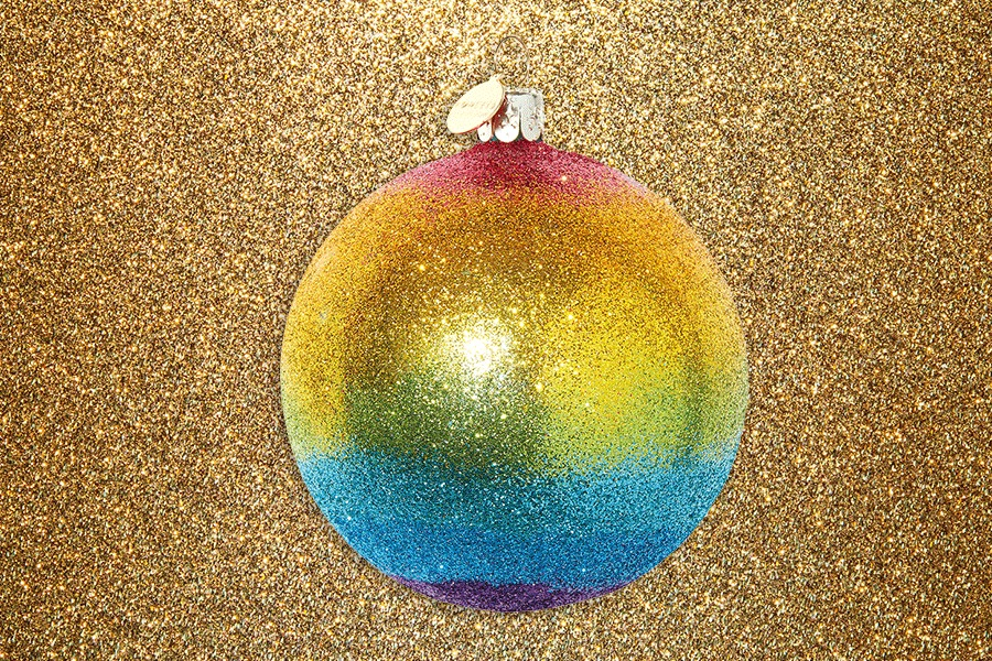 Rainbow glitter Christmas bauble selfridges