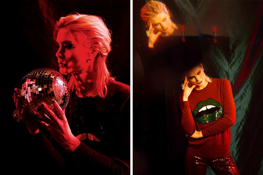 Natalie tweed sequin Lara lip jumper