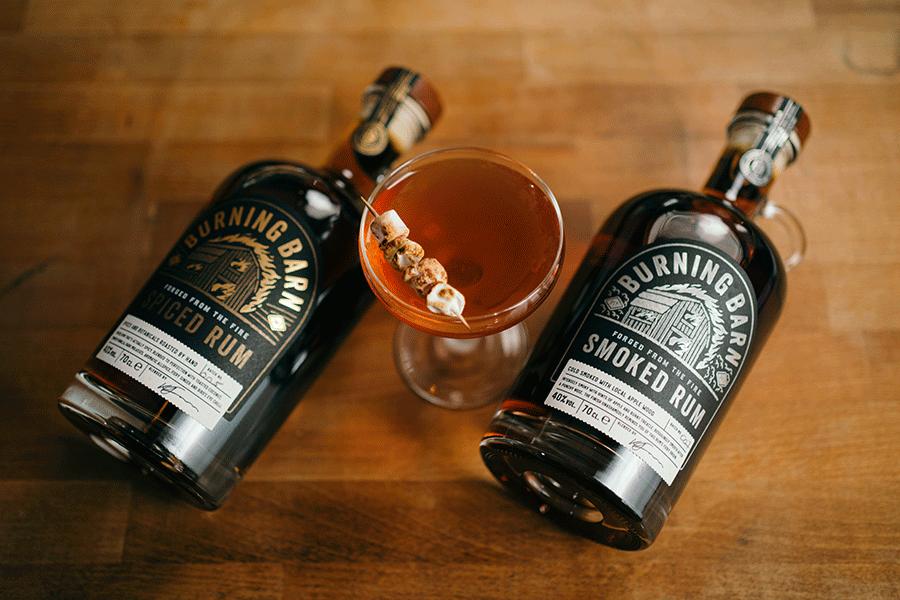 Rum bonfire cocktails